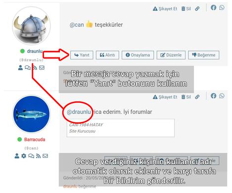 forum mesajlaşma yanıt butonu