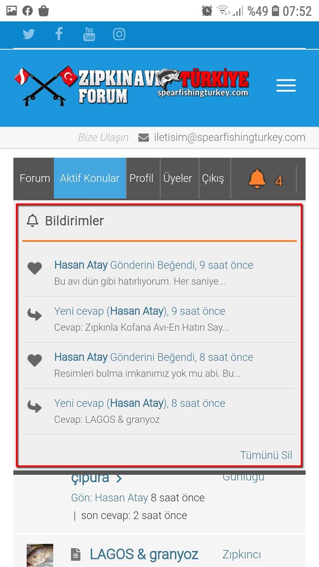Zıpkın Avı Türkiye Forum Bildirimleri 2